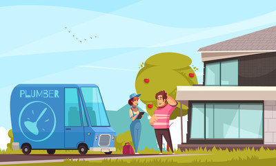 Plumber Arriving Outdoor Illustration