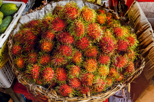 Rambutans, a popular tropical fruit named after the Malay word for hairy, Central Market, city centre, Phnom Penh, Cambodia