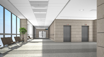 Corridor of building with waiting area and elevators. 3d rendering