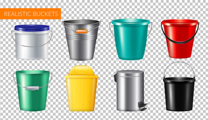 Realistic Buckets Transparent Icon Set Wall mural