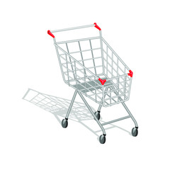 "Realistic empty shopping cart with shadow on white background. You can ""put"" in the cart  anything you want in the layer ""Goods in the cart""."
