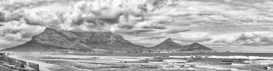 View of Cape Town as seen from Milnerton Beach. Monochrome