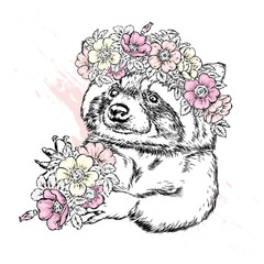 A beautiful raccoon in a wreath of wild rose. Vector illustration for postcard or poster, print for clothes. Spring and summer, a bouquet of flowers. Vintage and retro. Hipster. Cute puppy.