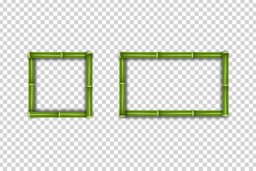 Vector realistic isolated Bamboo Frames for template decoration and layout covering on the transparent background.