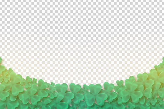 Vector realistic isolated Clover Border for template decoration and layout covering on the transparent background. Concept of Happy St. Patrick's Day.