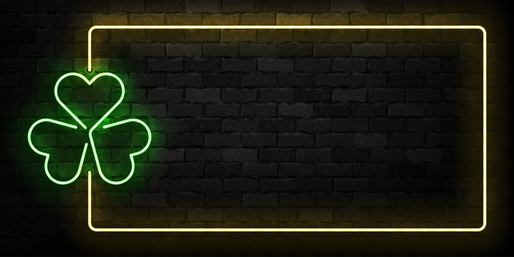 Vector realistic isolated neon sign of Clover frame logo for template decoration and covering on the wall background. Concept of Happy St. Patrick's Day.