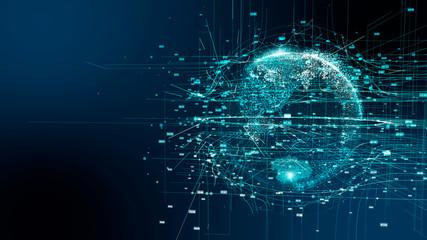 先進テクノロジー 5G AI 人工知能 日本人 素材 背景 グラフィック イラスト ブロックチェーン