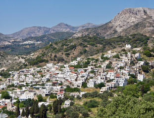 Panoramic View of a Whitewashed Village in the Greek Islands