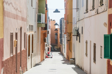 Narrow street in the city center of Morro Jable, Fuerteventura, Spain