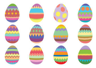 Set of 12 colourful Easter eggs on a white background.