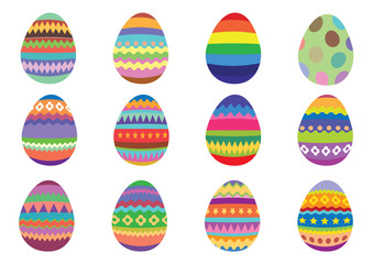 Set of 12 colourful Easter eggs on a white background