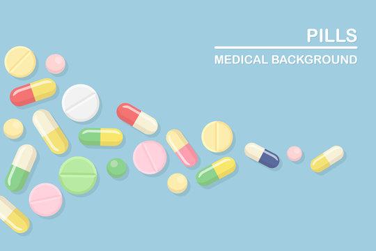 Set of pills, medicine, drugs. Painkiller Tablet, vitamine, pharmaceutical antibiotics. Medical background. Vector cartoon design
