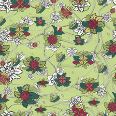 Seamless vector pattern with flowers and contour lines on a green background.
