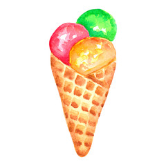 watercolor hand drawn ice cream isolated on white background.