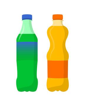 Soda. Lemon and orange soda Flat design.