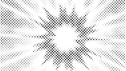Halftone gradient explosion pattern. Abstract halftone vector dots background. Fireworks dots pattern. Pop Art, Comic small dots. Star rays halftone poster. Shine, sun rays. Outer space, sunrise rays
