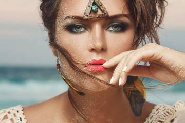 Gorgeous model in image of Red indian woman