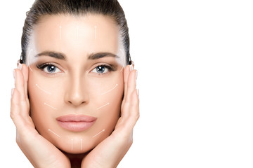 Beauty Face Spa Woman. Surgery and Anti Aging Concept. White Arrows Over Face
