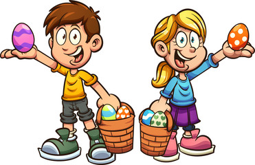 Cartoon boy and girl picking easter eggs
