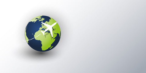 Traveling Around the World - Travel by Airplane - Globe Design Layout