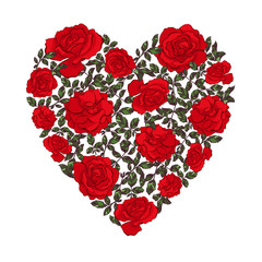 Heart made floral shape with leaves and roses.