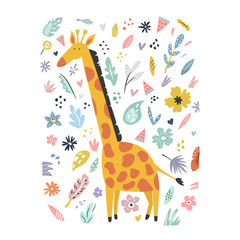 Cute hand drawn giraffe character with decoration