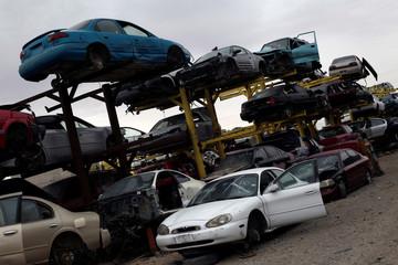 Scrapped cars are seen in a junkyard in Ciudad Juarez