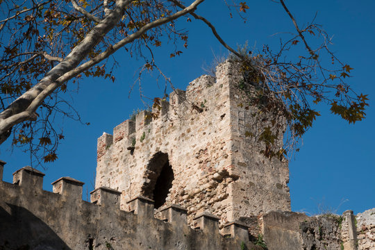 Ruins of the Alcazaba fortress in the historic center of Marbella, Spain.