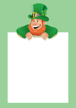 leprechaun with blank white paper
