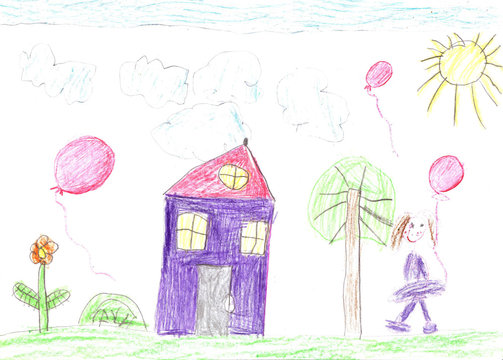 Child's drawing of a happy family on a walk outdoors