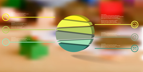 3D illustration infographic template with embossed circle randomly divided to six parts