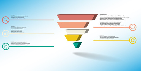 3D illustration infographic template with embossed triangle divided to five shifted parts
