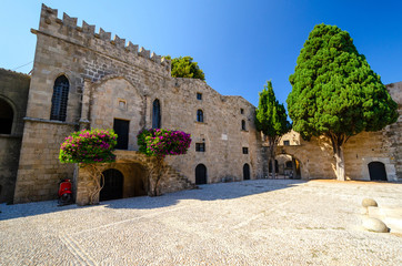 view on Square of the Hebrew Martyrs in Rhodes town, Greece