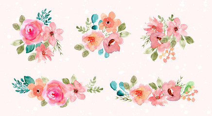 pink green watercolor flower arrangement collection Wall mural