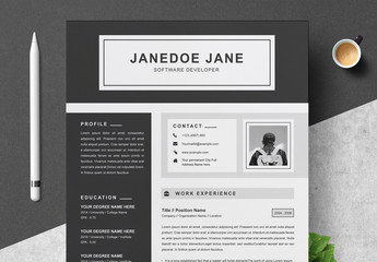 Black and Gray Resume, Cover Letter, and Reference Sheet Layout