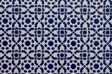 White blue traditional mosaic, Morocco