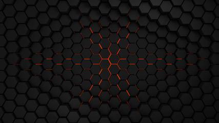 Wall Mural - grey and orange hexagons modern background 3d render illustration