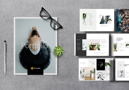 Photography Portfolio Layout with Gray Elements