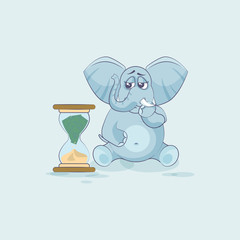 elephant sticker emoticon sits at hourglass
