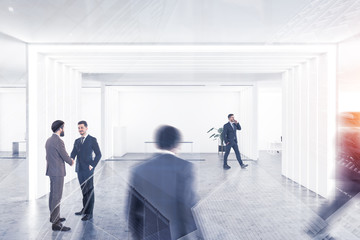People in white manager office interior
