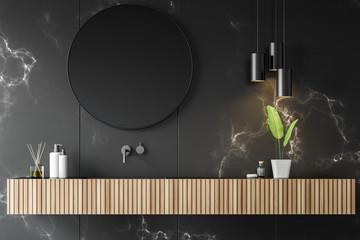 Black marble bathroom with sink