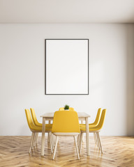White dining room with poster