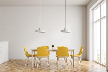 Minimalistic white dining room