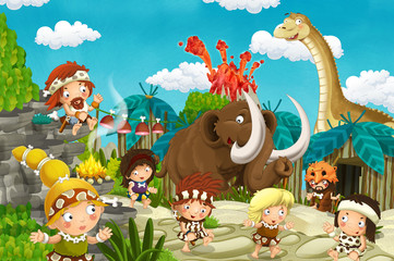 Spoed Foto op Canvas Zoo cartoon cavemen village scene with volcano and dinosaur diplodocus and mammoth in the background - illustration for children