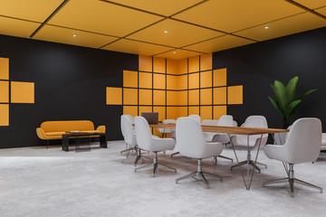 Black and yellow meeting room corner
