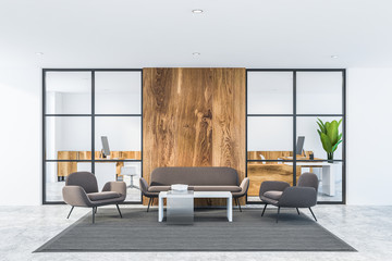 White and wooden office waiting room