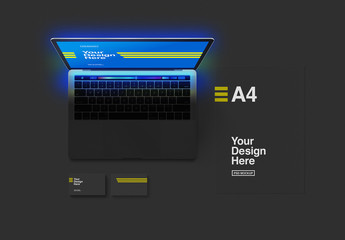 Laptop with Stationery Set Mockup