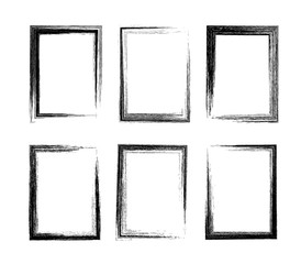 Grunge rectangular frames. Set of 6 different hand drawn rectangle borders. Pencil stroke.
