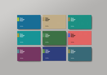 Nine Business Cards Mockup