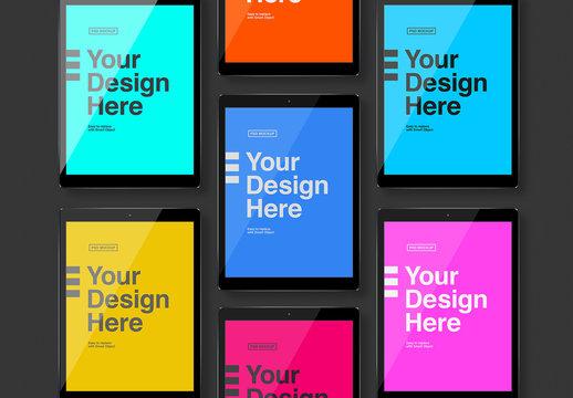 Seven Tablet Screens Mockup